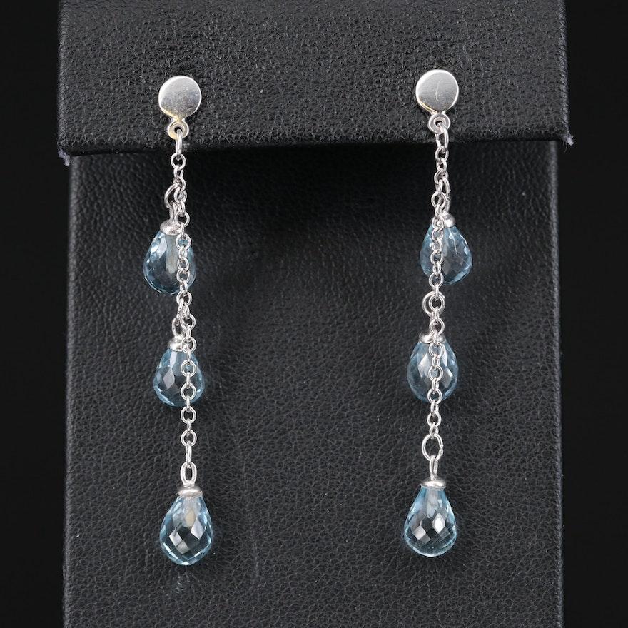 14K Sky Blue Topaz Briolette Dangle Earrings