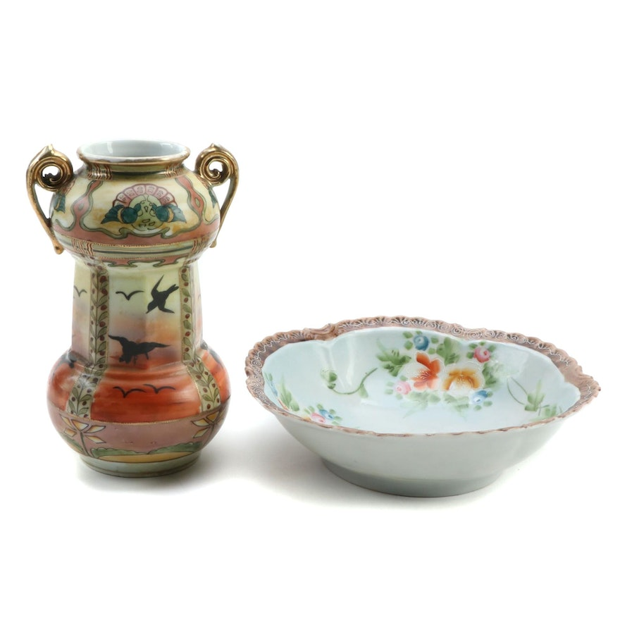 Japanese Nippon Hand-Painted Porcelain Vase and Scallop Rim Bowl