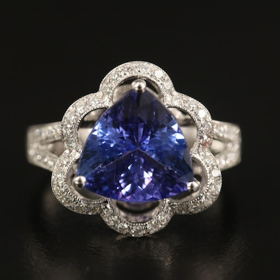 18K 3.74 CT Tanzanite and Diamond Openwork Ring