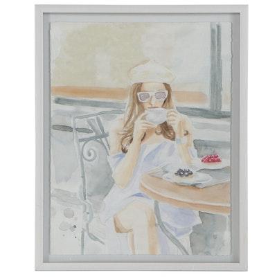 Figurative Giclée after Parvez Taj of Woman at a Cafe, 21st Century