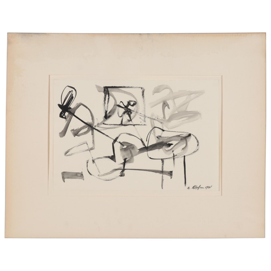 """Walter Stomps Abstract Ink Painting """"Early in the Morning,"""" 1961"""