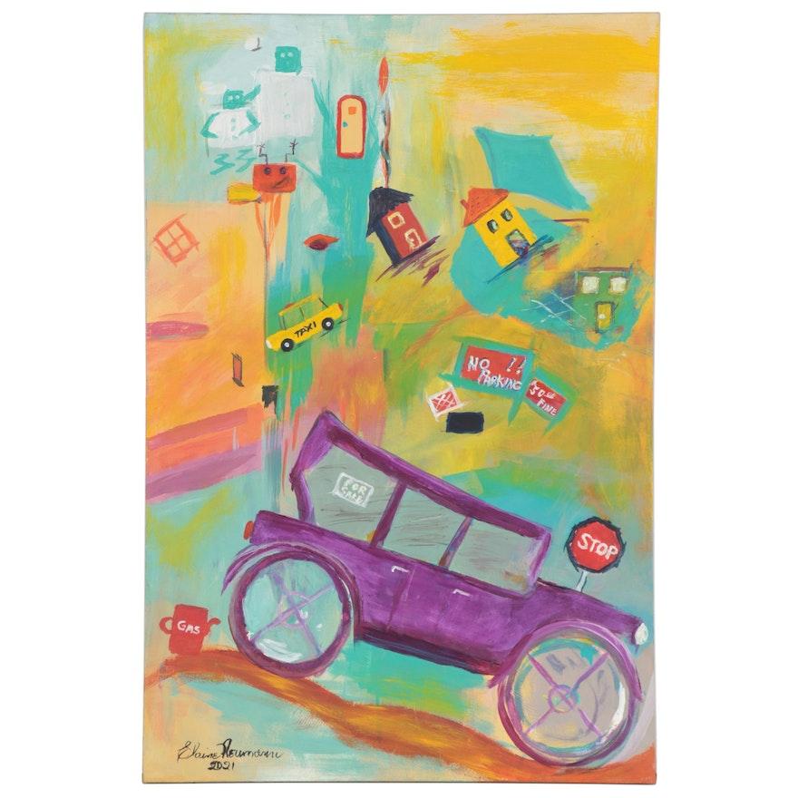 Elaine Neumann Abstract Acrylic Painting of Town Scene, 2021