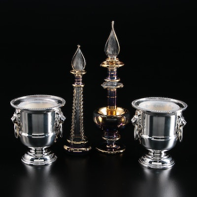 Viners of Sheffield Silver Plate Toothpick Holders and Art Glass Perfume Bottles