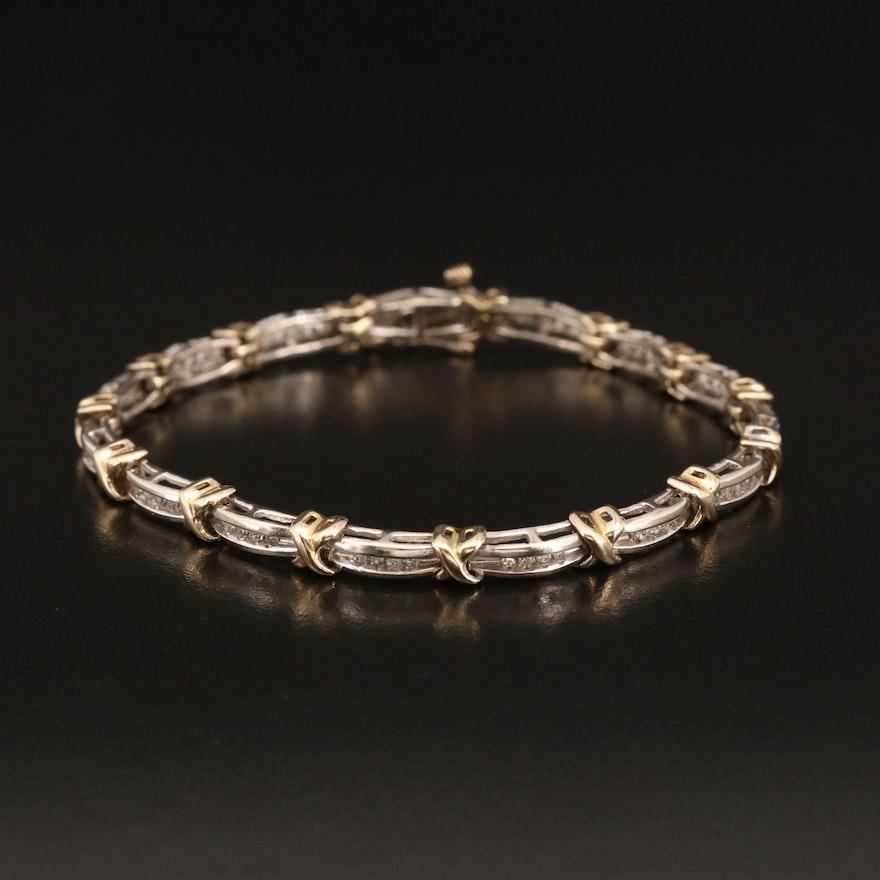 10K Diamond X Style Bracelet