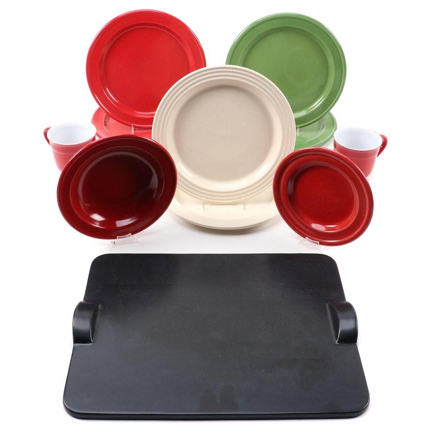 Emile Henry Ceramic Grilling and Baking Stone with Glazed Stoneware Tableware