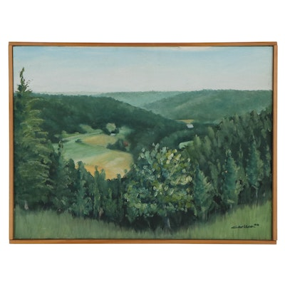 "Kevin Carlson Landscape Oil Painting ""View from Bishop Hill,"" 2002"