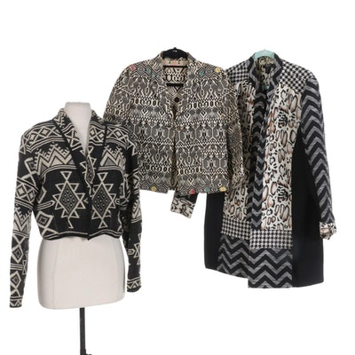 Three Black and White Woven Jackets Including Moka Sport and More