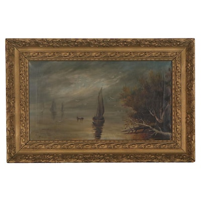 Seascape Oil Painting of Shoreline with Sailboats, Early 20th Century
