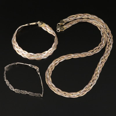 Italian Braided Herringbone Bracelet and Necklace with Mexican Link Bracelet