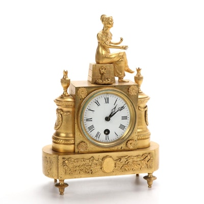 French Empire Bronze Dore Mantel Clock, 19th Century