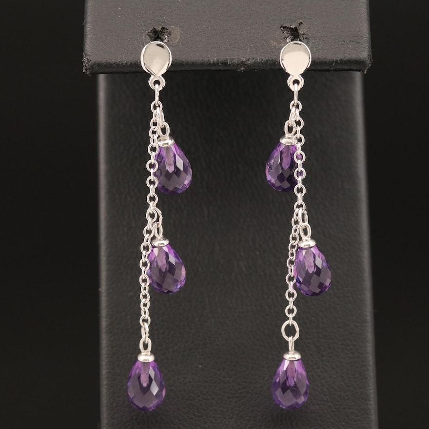 14K Briolette Amethyst Earrings