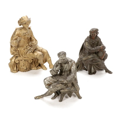 Cast Metal Figural Clock Toppers, Late 19th to Early 20th Century