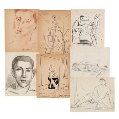 Edgar Yaeger Figural Drawings of Men, circa 1935