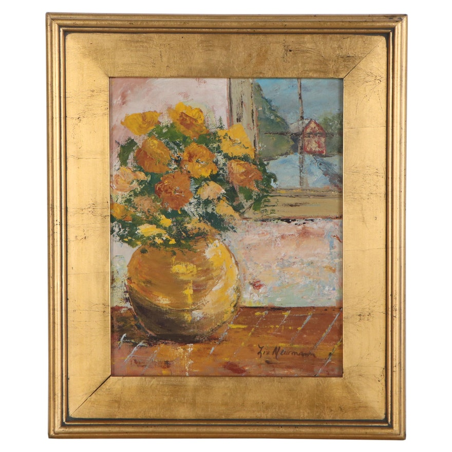 Liz Neumann Abstract Oil Painting of Marigolds, Late 20th Century