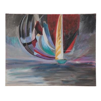 Elaine Neumann Abstract Oil Painting of Sailboat on the Ocean, 2015