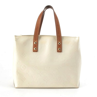 Louis Vuitton Reade PM Tote in Perle Monogram Vernis with Leather Trim