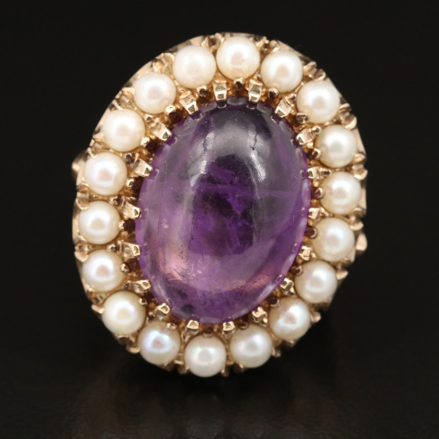 Vintage 14K 12.71 CT Amethyst and Pearl Ring