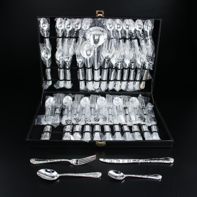 Silver Plate Rose Patterned Flatware with Serving Utensils and Silver Case