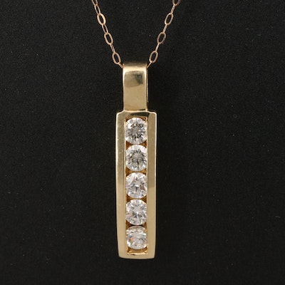 14K Diamond Channel Pendant on 18K Chain