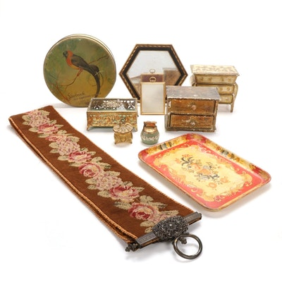 Reticulated Ormolu Casket, Needlepoint Bell Pull, and Other Decor Items