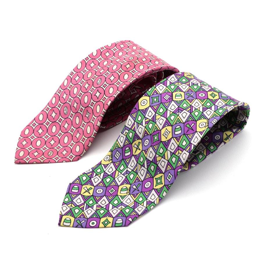 Emilio Pucci Hand-Stitched Silk Twill Neckties