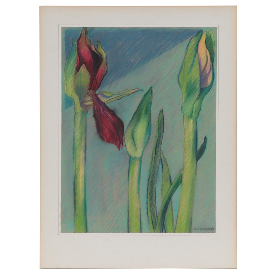 "Walter Stomps Pastel Drawing ""Dutch III (Trio),"" 1981"
