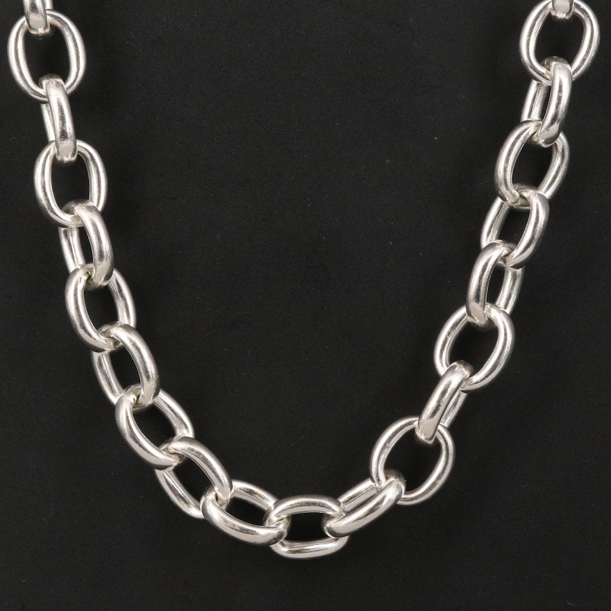 970 Silver Cable Link Necklace