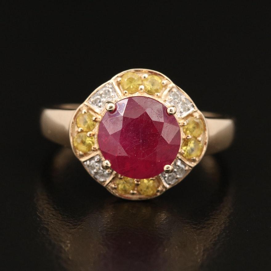 10K Corundum, Sapphire and Diamond Ring