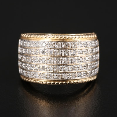 14K Diamond Multi-Row Ring with Rope Accent