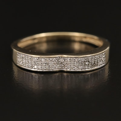 10K Diamond Band with Fluted Top