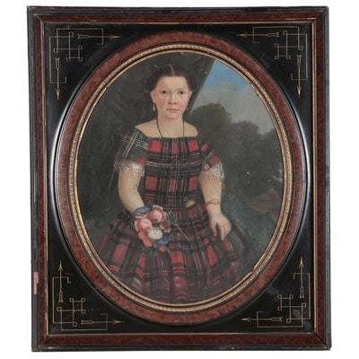 Folk Art Oil Portrait of Young Child in Plaid, Mid-Late 19th Century