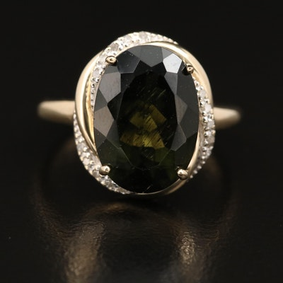 10K Moldavite and Diamond Ring with Twisted Rope Frame