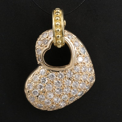 14K 1.00 CTW Diamond Enhancer Heart Pendant with 18K Bail
