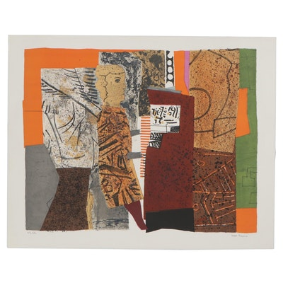 Max Papart Abstract Color Lithograph, Mid-20th Century