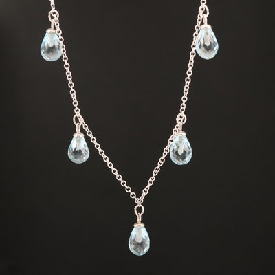 14K Briolette Sky Blue Topaz Fringe Necklace