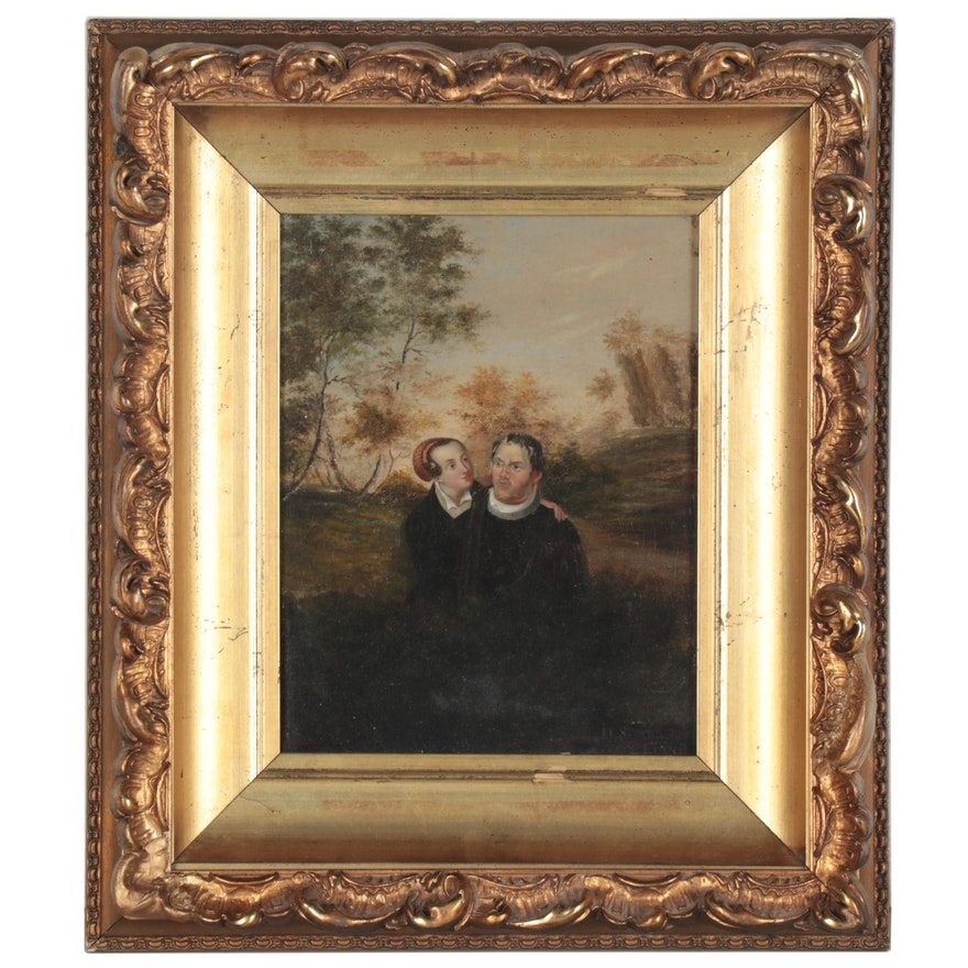 Oil Painting of Couple with Spring Landscape, 19th Century