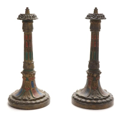 Cold-Painted Metal Lamp Bases, Early 20th Century