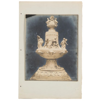 Silver Print Photograph of a Sculptural Fountain
