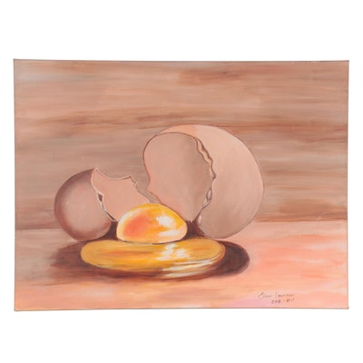 Elaine Neumann Oil Painting of Cracked Egg, 2016-2017