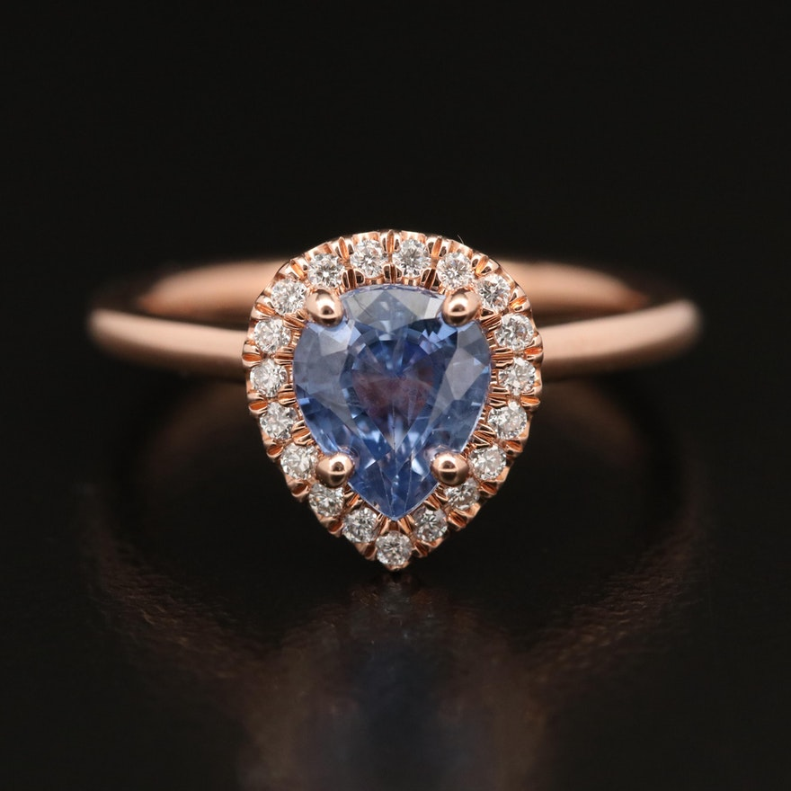 14K Rose Gold 1.10 CT Sapphire and Diamond Halo Ring