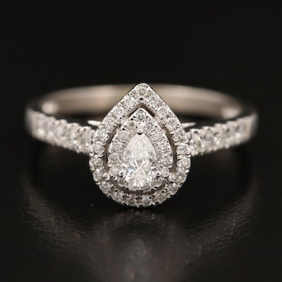 14K Diamond Double Halo Ring
