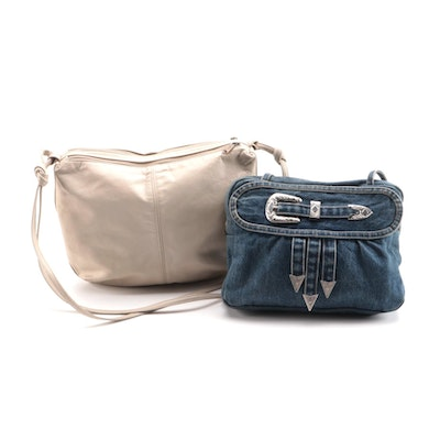 Stone Mountain Purse and Colorado Inc. Denim and Buckle Embellished Bag