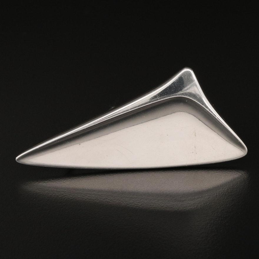 Modernist Georg Jensen Sterling Triangular Brooch Designed by Henning Koppel