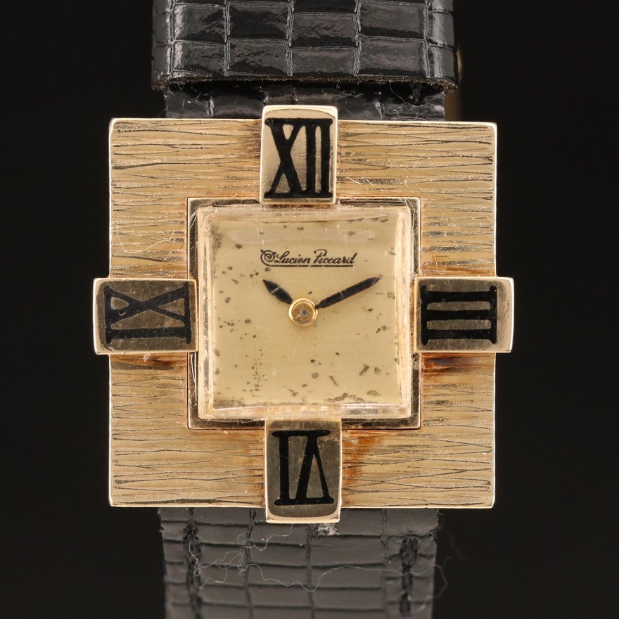 Vintage Lucien Piccard 14K Yellow Gold Stem Wind Wristwatch
