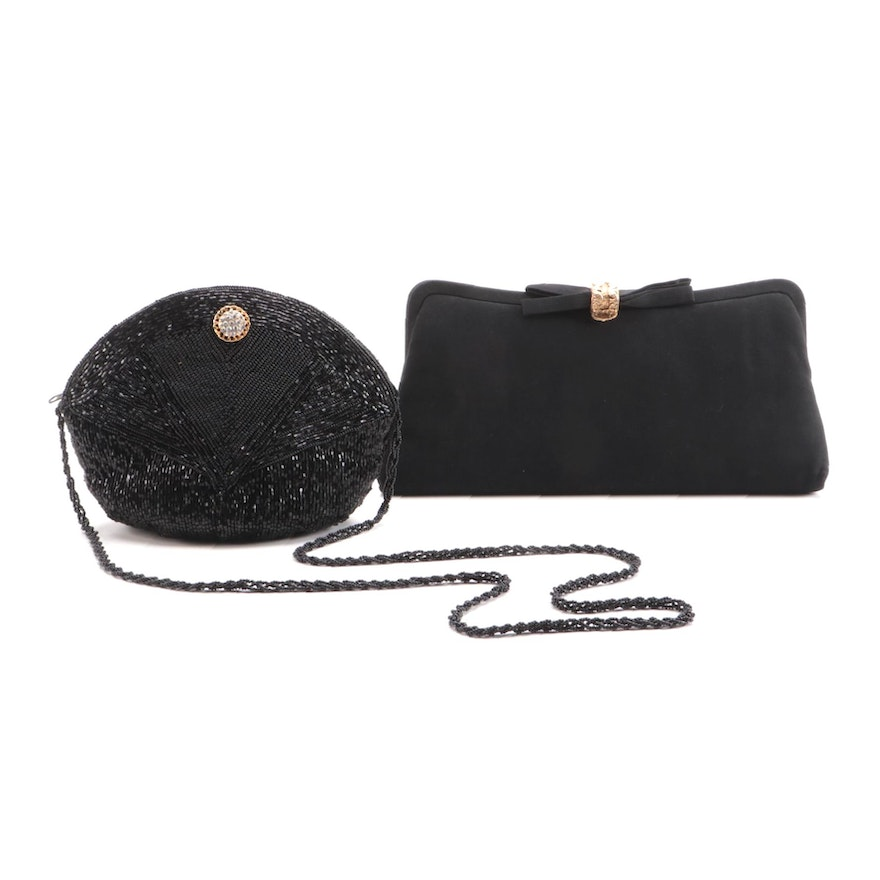La Regale Ltd. Beaded Evening Bag and Other Black Clutch