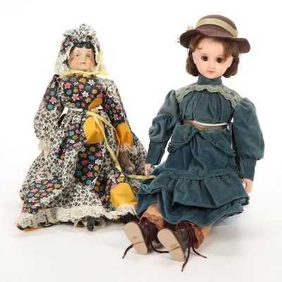 Reproduction Low Brow China Head Doll and Other Doll with Stands