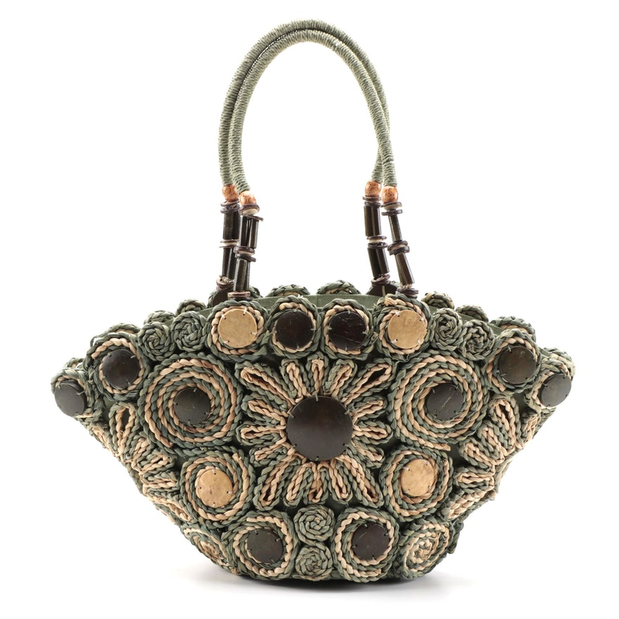 Sun 'N' Sand Floral Swirl Woven Tote with Wooden Embellishments