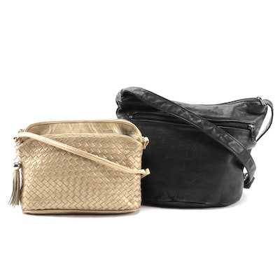 Sonoma Black Leather and Other Gold Metallic Leather Shoulder Bags