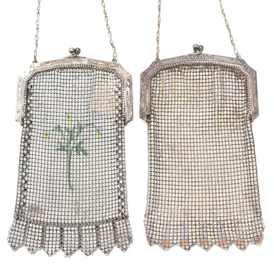 Whiting & Davis Enamel Mesh Frame Bags with Vandyke Fringe