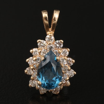 14K Topaz and Diamond Halo Pendant